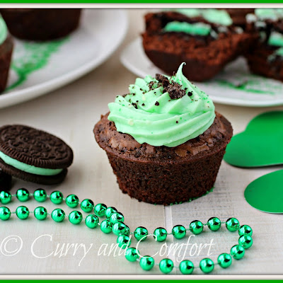 Brownie Oreo Mint Cupcakes