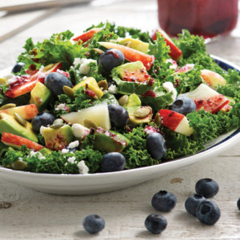 Kale Salad with Blueberry Ginger Dressing