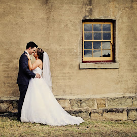Together Forever by Alan Evans - Wedding Bride & Groom ( kiss, wedding photography, kissing, wedding day, wedding, aj photography, hunter valley, bride and groom, bride, groom, hunter valley wedding photographer, kisses )