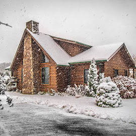 Snow Day by Becky Kempf - Buildings & Architecture Homes ( log home, cabin, winter, snow, weather, house,  )