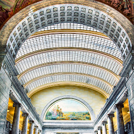 The Grand Staircase by Dustin Olsen - Buildings & Architecture Public & Historical ( stairs, arch, hdr, murals, skylight, granite )