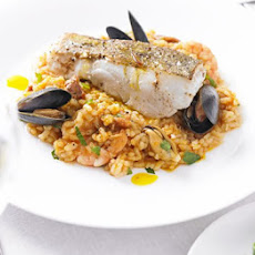 Roast Cod With Paella & Saffron Olive Oil