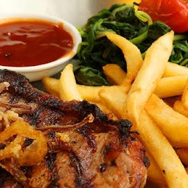 eat me by Dandy Tanuwidjaja - Food & Drink Meats & Cheeses ( steak, french fries )