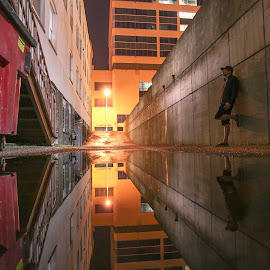 Reflections in an alley by Danny Eisenhauer - City,  Street & Park  Street Scenes (  )