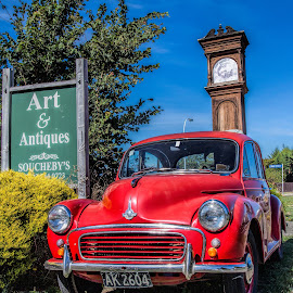 red car by Vibeke Friis - Transportation Automobiles ( red morris minor,  )