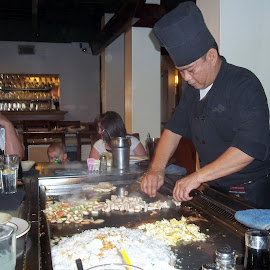 At the Hibachi Grill by Judith Beck - Food & Drink Cooking & Baking ( foods, hibachi, japanese, restaurant, people, grilled )