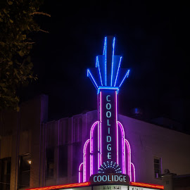 The Coolidge Corner Theatre by Daniel Gorman - City,  Street & Park  Street Scenes ( movie, massachusetts, red, boston, coolidge theater, color, blue, cinema, neon, theatre, pink, coolidge, brookeline, light )