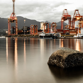 Shipyard by Stephen Bridger - Artistic Objects Industrial Objects ( containers, crab park, cranes, industrial, canada, long exposure, ocean, rock, bc, vancouver, ship yard, british columbia )