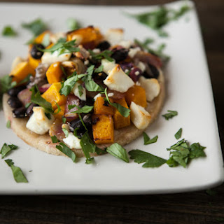 Roasted Chipotle Butternut Squash, Black Beans, and Goat Cheese Tostadas