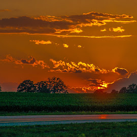 Sun Bound and Down by John Herald - Landscapes Sunsets & Sunrises ( sunset )