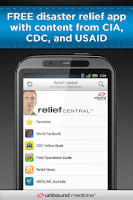 Screenshot of Relief Central w/ Ebola Guide