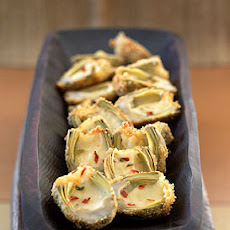 Deep-Fried Baby Artichokes Stuffed with Pepper Jack Cheese