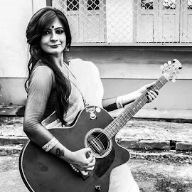 by Auyon Acharya - People Musicians & Entertainers ( rockstar, guitar, sari, goddesslook )