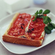 Roasted Tomato and Goats' Cheese Tart with Thyme