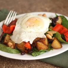 Potato, Red Pepper, Black and White Bean Hash