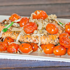 Salmon with Roasted Tomatoes and Onions