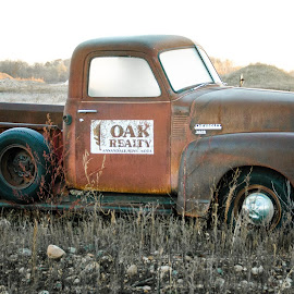 Truck in a Gravel Pit by Gary Hanson - Artistic Objects Antiques ( antique truck, gravel pit, truck, rusty, morning, old truck, antique, frosty )