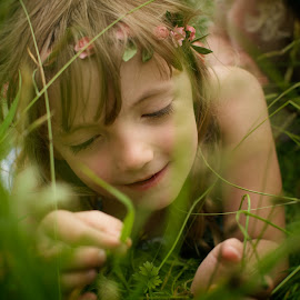 In the Grassland by Dominic Lemoine - Babies & Children Children Candids ( girl, grass, meadow, summer, flower )