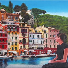 Portofino, Italie by Jonguy Demontigny - Painting All Painting