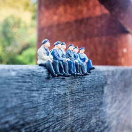 Miniature figures sitting on a wooden board by Paul Stonehouse - Artistic Objects Other Objects ( miniatures, figures )