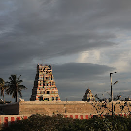Highlighted by sun! by Srivenkata Subramanian - Buildings & Architecture Places of Worship ( temple, cloudy, shiva, landscape, evening,  )