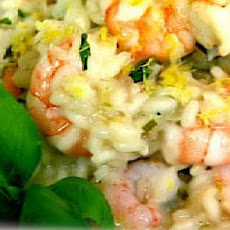 Risotto With Prawn, Lemon, Spring Onion And Basil