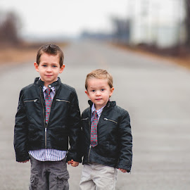 Brothers by Brandon Morgan - Babies & Children Child Portraits ( ms, delta, jackets, road, leather, brothers,  )