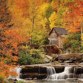 by Lawayne Kimbro - Landscapes Mountains & Hills ( mill, mountains, stream, glade grist, iconic, old mill, colors, waterfall,  )