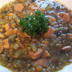 Linsensuppe (German Lentil Soup With Frankfurter Slices)