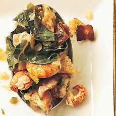 Bread Stuffing with Crawfish, Bacon, and Collard Greens