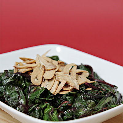 Sautéed Beet Greens with Cumin, Lemon Zest and Crispy Fried Garlic