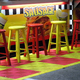Sit, Eat by Kaye Petersen - Artistic Objects Furniture ( sausage, red, food, seating, yellow, furniture, fair, stools, Chair, Chairs, Sitting )