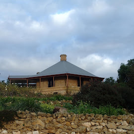 The Round House by Pamela Howard - Buildings & Architecture Homes ( home, sky, murray bridge, river murray, trees, house, stones, round house )