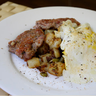 Breakfast Sausage, Home Fries, and Eggs