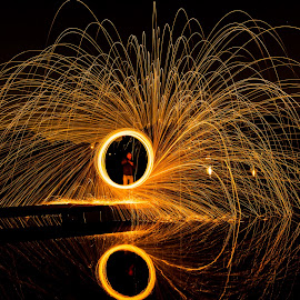 Wheel sparkle by Jacques du Toit - Abstract Fire & Fireworks ( abstract, playing, spinning, wheel, outdoors, steelwool, lake, circle, fun, steel, spark, fire )