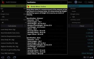 Screenshot of Health Calculator Tablet