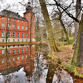 Little park in Troisdorf by Antoni Jordaan - City,  Street & Park  Historic Districts ( water, reflection, park, schloss, castle )
