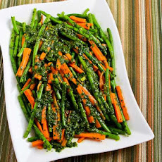 Recipe for Steamed Green Beans and Carrots with Charmoula Sauce
