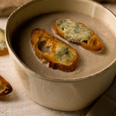 Creamy Mushroom Soup with Blue Cheese Toasts Recipe