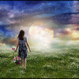 Where Heaven & Earth Meet by Elizabeth Burton - Digital Art Places ( rainbow sky, yellow, landscape, breathtaking, sun, child, mystic, tranquil, girl, clovers, sky, flowers, flower basket, skyscape, clouds, orange, peaceful, grass, heaven, green, beautiful, white, magic, blue, sunset, stars, meadow, earth, tranquility, heaven and earth )