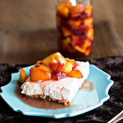 Peaches and Cream No Bake Cheesecake