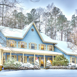 Victorian Home In the Southern MD snow by Cindy Hartman - Buildings & Architecture Homes ( blue, southern md, snow, victorian, homes,  )