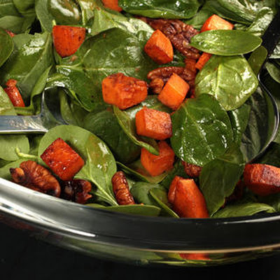 Warm Spinach Salad with Smoky Pecans and Sweet Potato