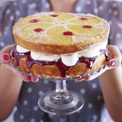 Pineapple & Cherry Upside-down Sandwich Cake