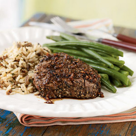 Pepper and Garlic-Crusted Tenderloin Steaks with Port Sauce Recipe ...