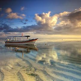 the Sky by Ina Herliana Koswara - Transportation Boats ( water, sky, waterscape, beach, morning )