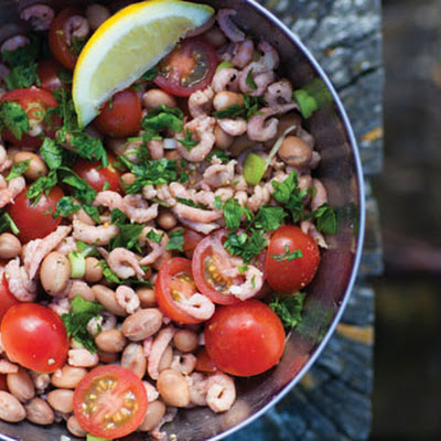 Brown Shrimps With Borlotti Beans And Cherry Tomatoes