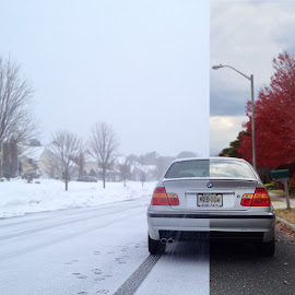 Transitions by Marcus Cheung - Transportation Automobiles ( winter, nature, snow, fall, bmw, split )