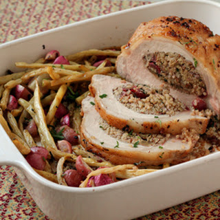 Quinoa-Stuffed Pork Loin with Roast Radishes and Wax Beans
