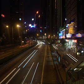 Hong Kong Streets at Night by Matt Dittsworth - City,  Street & Park  Night ( car, hong kong, automobile, shutter, night, race, light, slow shutter, city, china )